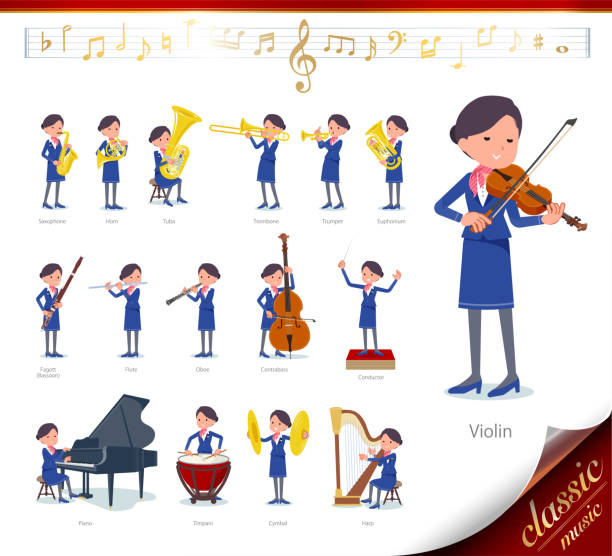 flat type cabin attendant blue woman_classic music - hotel reception stock illustrations