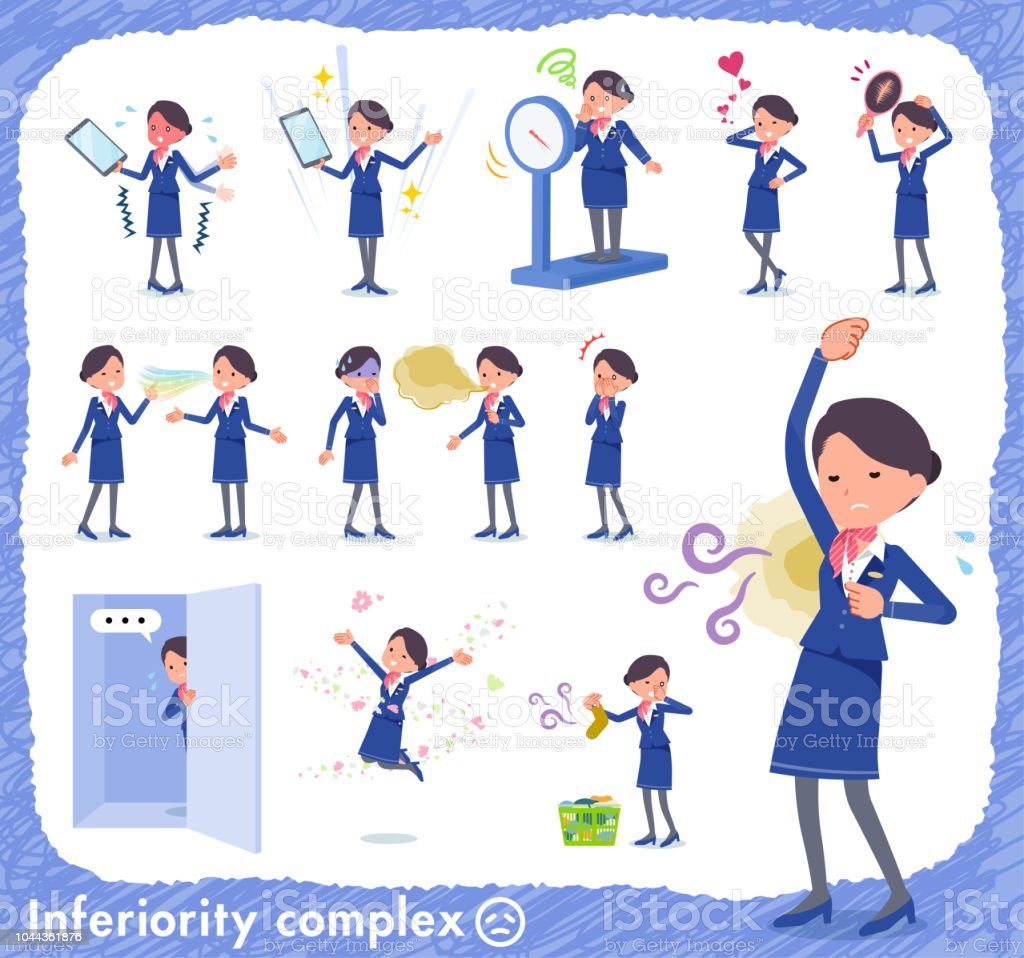 flat type Cabin attendant blue woman_complex vector art illustration