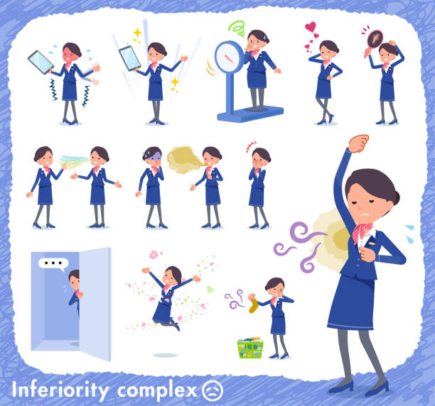 flat type cabin attendant blue woman_complex - hotel reception stock illustrations