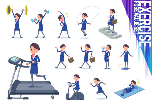 flat type cabin attendant blue woman_exercise - hotel reception stock illustrations