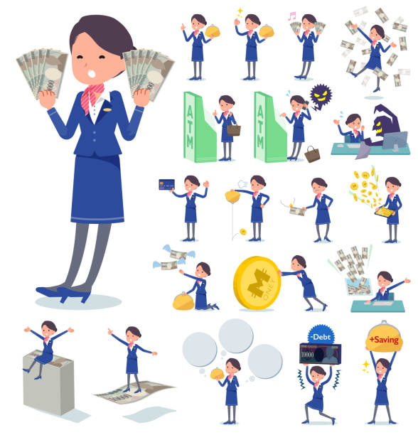 flat type cabin attendant blue woman_money - hotel reception stock illustrations