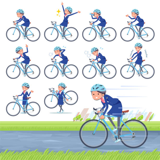 flat type cabin attendant blue woman_road bike - hotel reception stock illustrations