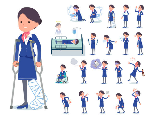flat type cabin attendant blue woman_sickness - hotel reception stock illustrations