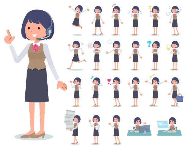 flat type Call center women_emotion A set of women with who express various emotions.There are actions related to workplaces and personal computers.It's vector art so it's easy to edit. call centre illustrations stock illustrations