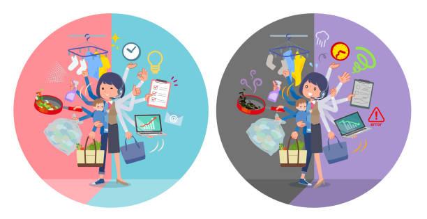 ilustrações de stock, clip art, desenhos animados e ícones de flat type call center women_mulch task switch - fail cooking