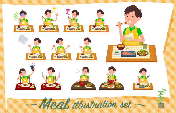 illustrazioni stock, clip art, cartoni animati e icone di tendenza di flat type childminder men_meal - galateo a tavola