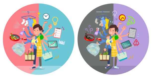 ilustrações de stock, clip art, desenhos animados e ícones de flat type childminder men_mulch task switch - fail cooking