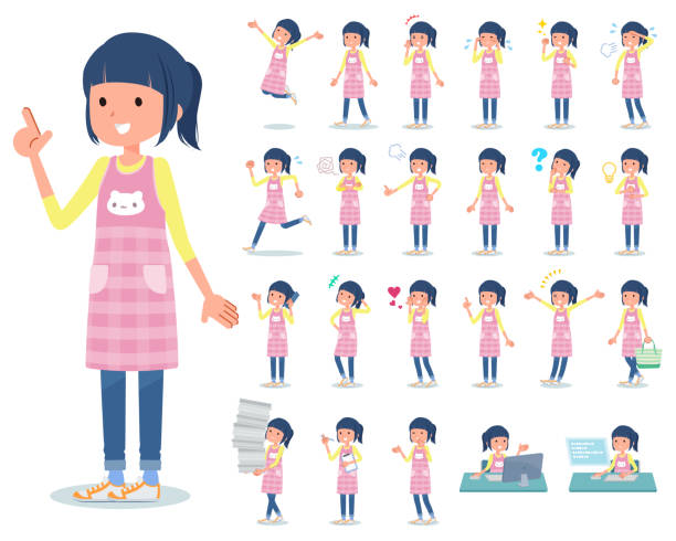 flat type Childminder women_emotion A set of Childminder women with who express various emotions.There are actions related to workplaces and personal computers.It's vector art so it's easy to edit. preschool teacher stock illustrations