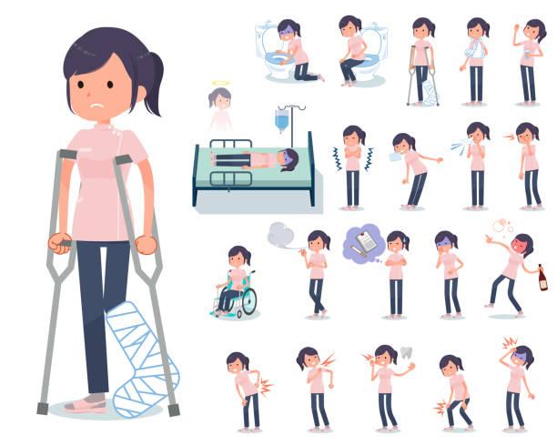 bildbanksillustrationer, clip art samt tecknat material och ikoner med platt typ kiropraktor women_sickness - sjukdom