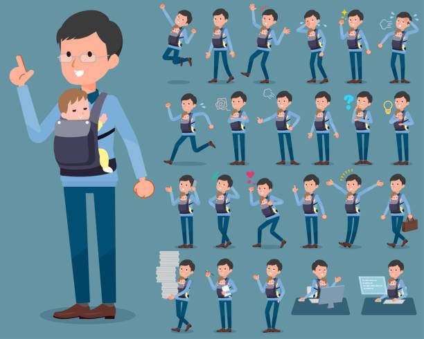 flat type dad and baby_1 - babysitter stock illustrations, clip art, cartoons, & icons