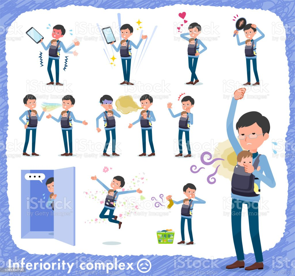 flat type Dad and baby_complex vector art illustration