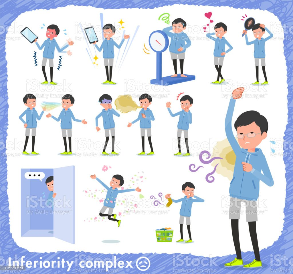 flat type dad Blue sportswear_complex vector art illustration