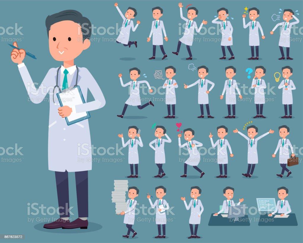 tipo plano médico viejo man_1 - ilustración de arte vectorial