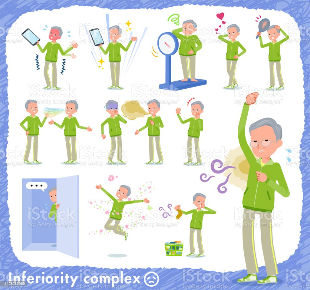 flat type grandpa green Sportswear_complex vector art illustration