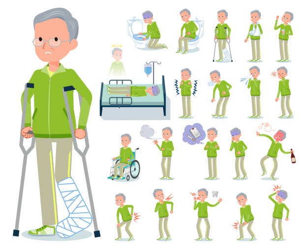 flat type grandpa green sportswear_sickness - old man mask stock illustrations, clip art, cartoons, & icons