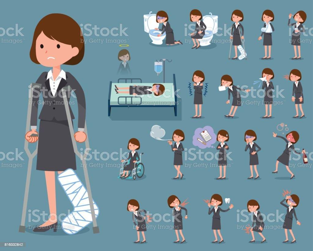 フラット タイプ グレー スーツ ビジネス woman_sickness ベクターアートイラスト