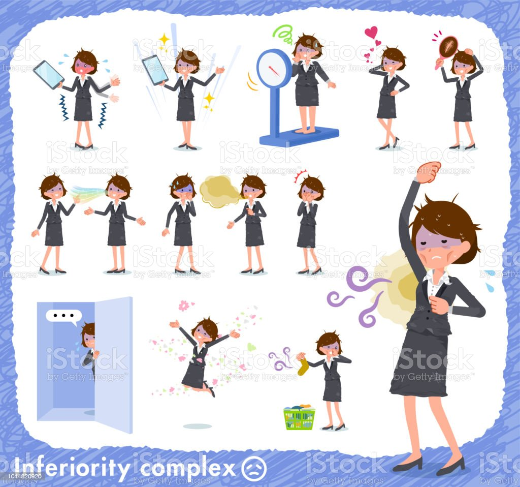 flat type Gray suit business women Bad condition_complex vector art illustration