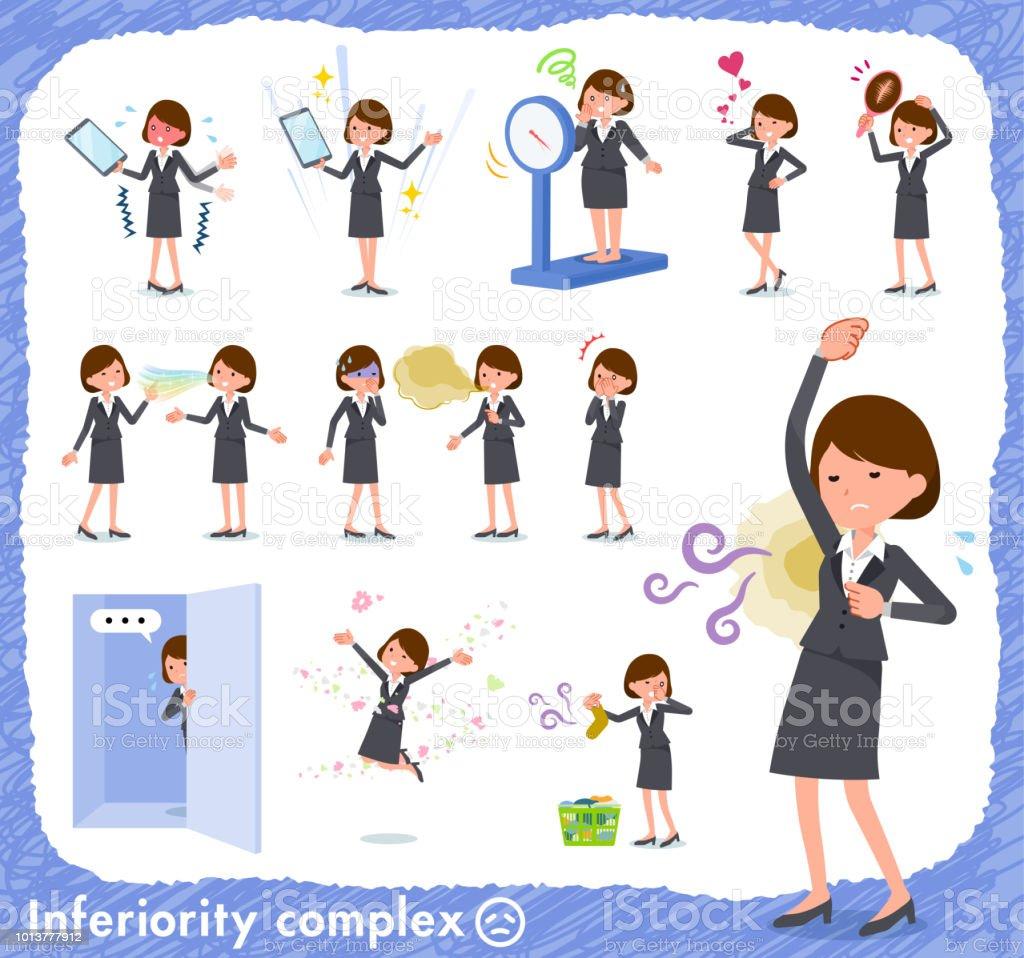 flat type Gray suit business women_complex vector art illustration