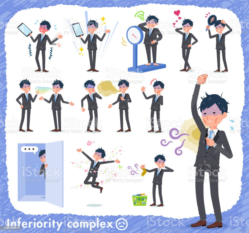 flat type Gray suit businessman Bad condition_complex vector art illustration