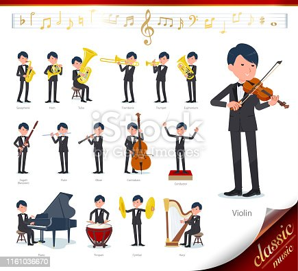A set of tuxedo man on classical music performances.There are actions to play various instruments such as string instruments and wind instruments.It's vector art so it's easy to edit.