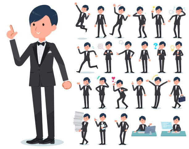 ilustrações de stock, clip art, desenhos animados e ícones de flat type gray suit businessman - smoking