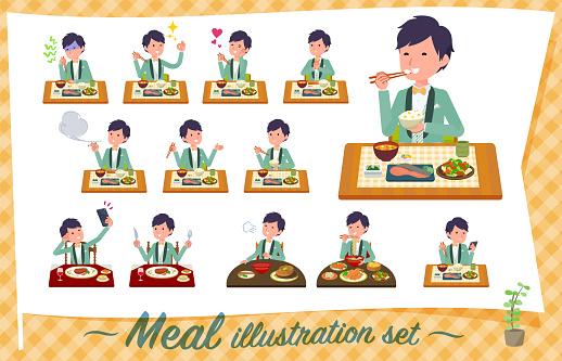 flat type green casual tuxedo men_Meal