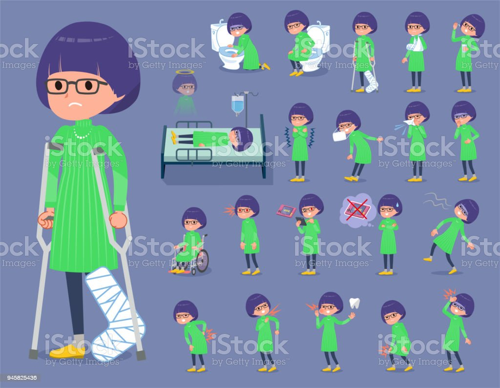 flat type Green clothes Glasses girl_sickness vector art illustration