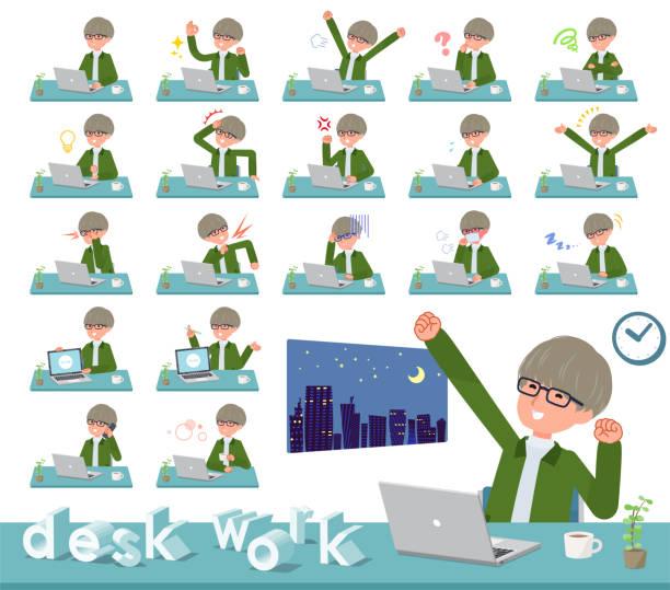 フラットタイプグリーンコーチジャケット man_desk ワーク - 大学生 パソコン 日本点のイラスト素材/クリップアート素材/マンガ素材/アイコン素材