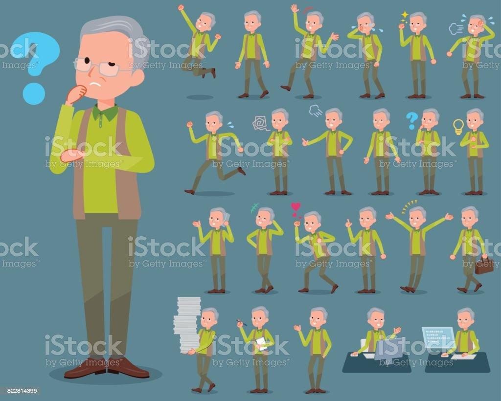 tipo plano chaleco verde grandfather_1 - ilustración de arte vectorial