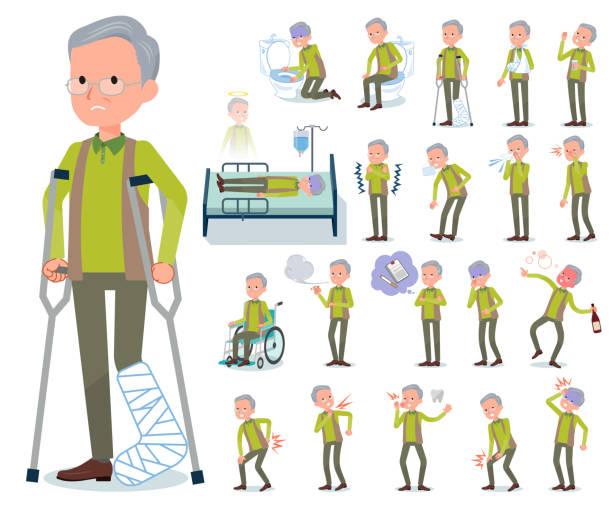 flat type green vest old man_sickness - old man mask stock illustrations