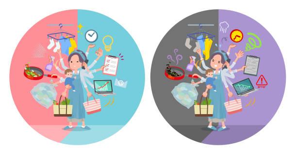 ilustrações de stock, clip art, desenhos animados e ícones de flat type hairband apron mom_mulch task switch - fail cooking