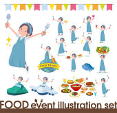 A set of Pregnant Women on food events.There are actions that have a fork and a spoon and are having fun.It's vector art so it's easy to edit.