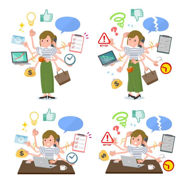 フラットタイプカーキワイドパンツwomen_mulchタスクオフィス - 大学生 パソコン 日本点のイラスト素材/クリップアート素材/マンガ素材/アイコン素材