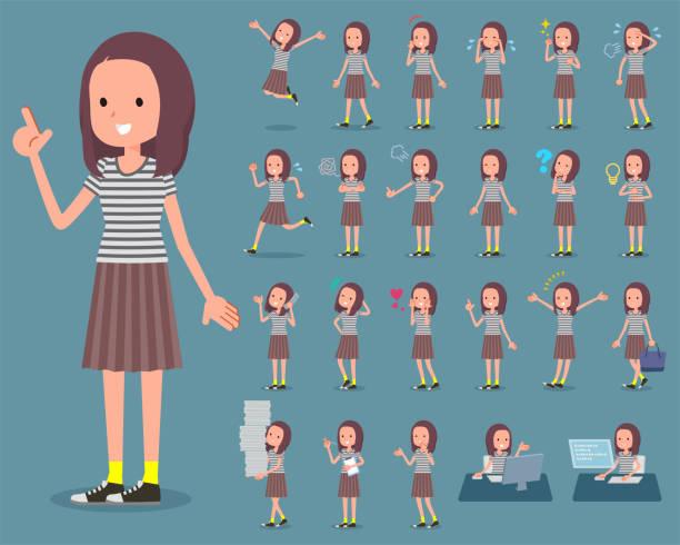 平型長い髪 women_1 - 大学生 パソコン 日本点のイラスト素材/クリップアート素材/マンガ素材/アイコン素材