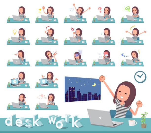 平型長い髪 women_desk 作業 - 大学生 パソコン 日本点のイラスト素材/クリップアート素材/マンガ素材/アイコン素材
