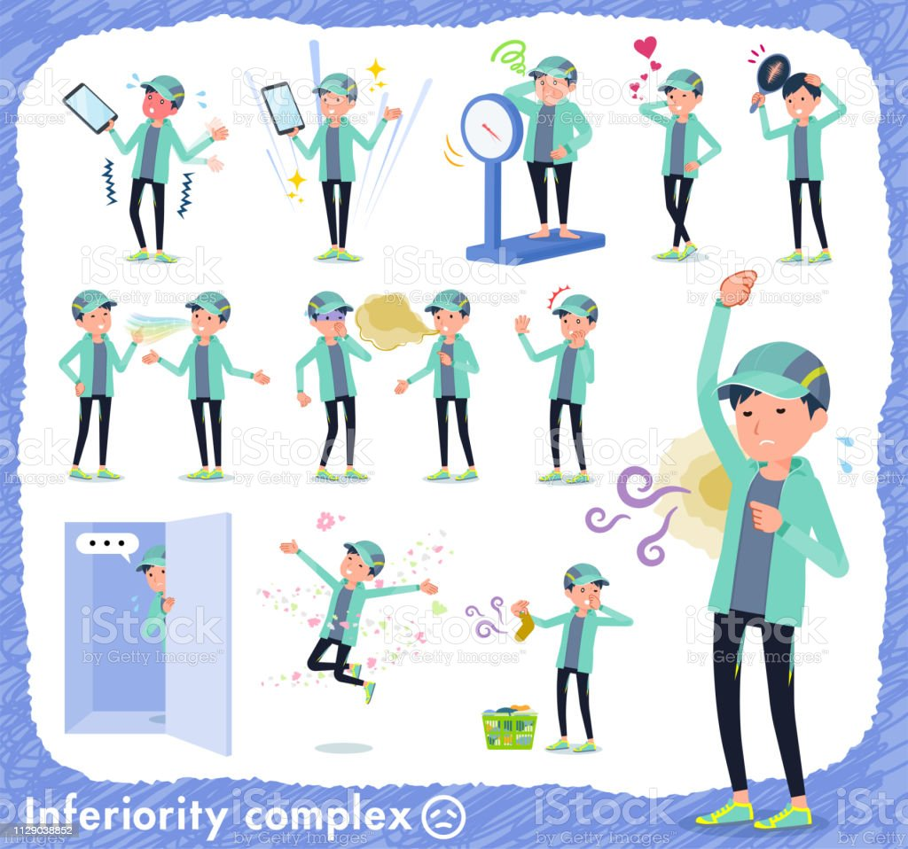 flat type man Blue green Sportswear_complex vector art illustration
