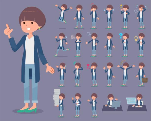 平型マッシュ髪 women_1 - 大学生 パソコン 日本点のイラスト素材/クリップアート素材/マンガ素材/アイコン素材
