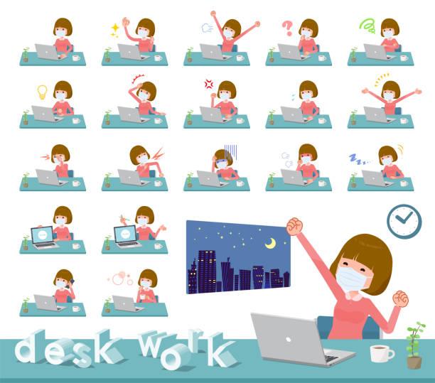 フラットタイプマスクピンクブラウスwomen_desk作品 - 大学生 パソコン 日本点のイラスト素材/クリップアート素材/マンガ素材/アイコン素材