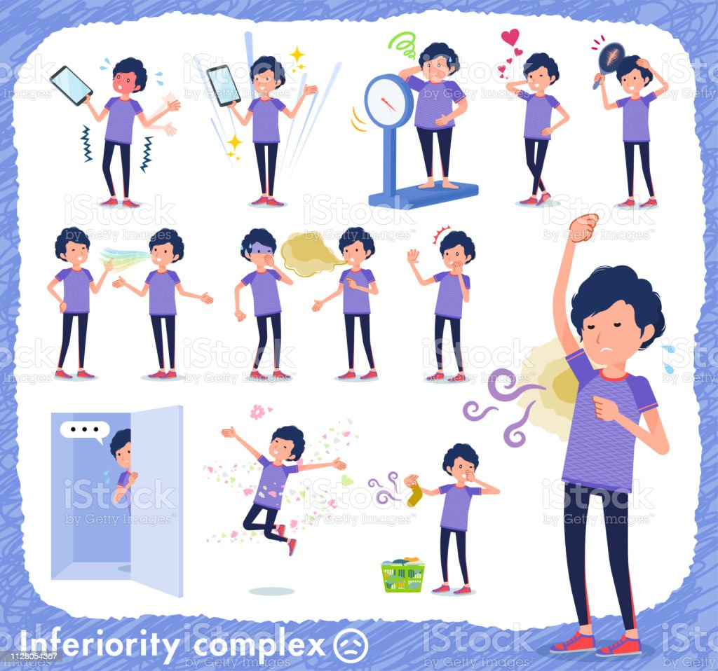 flat type men blue sportswear_complex vector art illustration