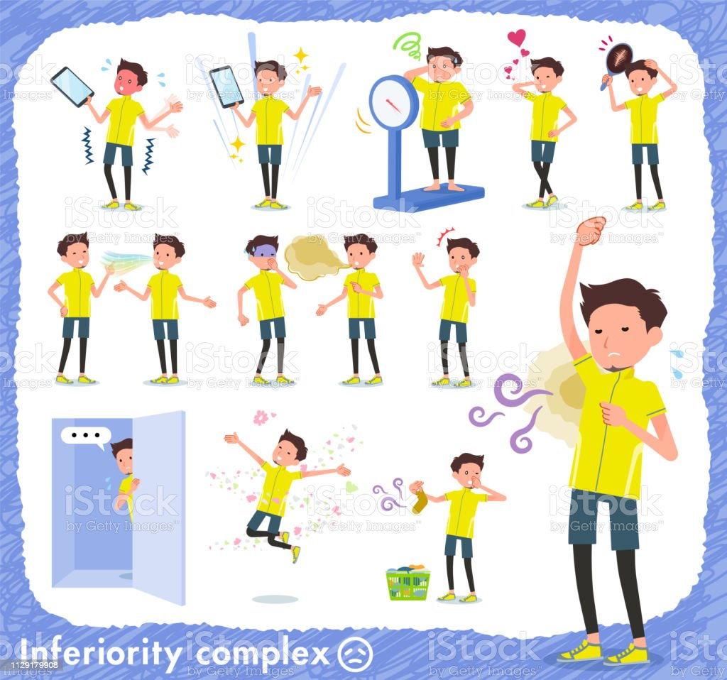 flat type men yellow sportswear_complex vector art illustration