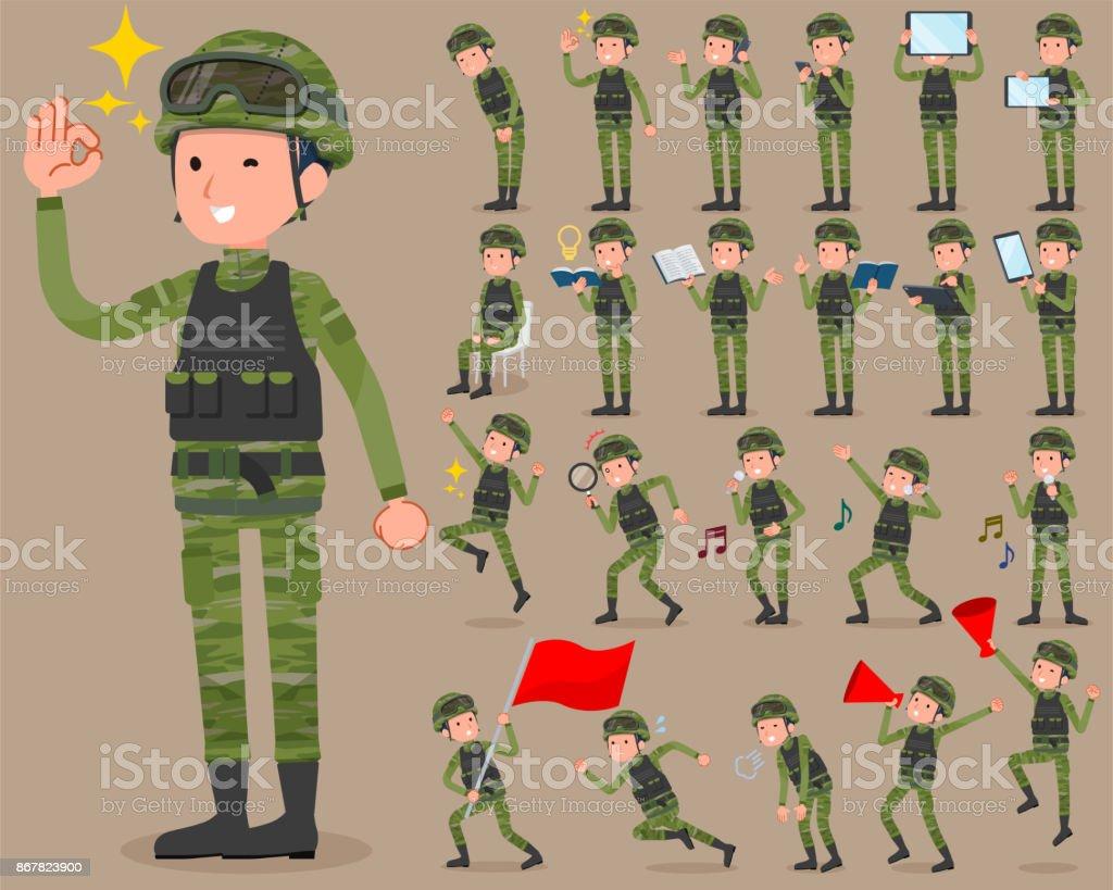 flat type military wear man_2 vector art illustration