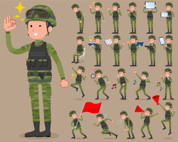 flat type military wear man_2 - army soldier stock illustrations, clip art, cartoons, & icons
