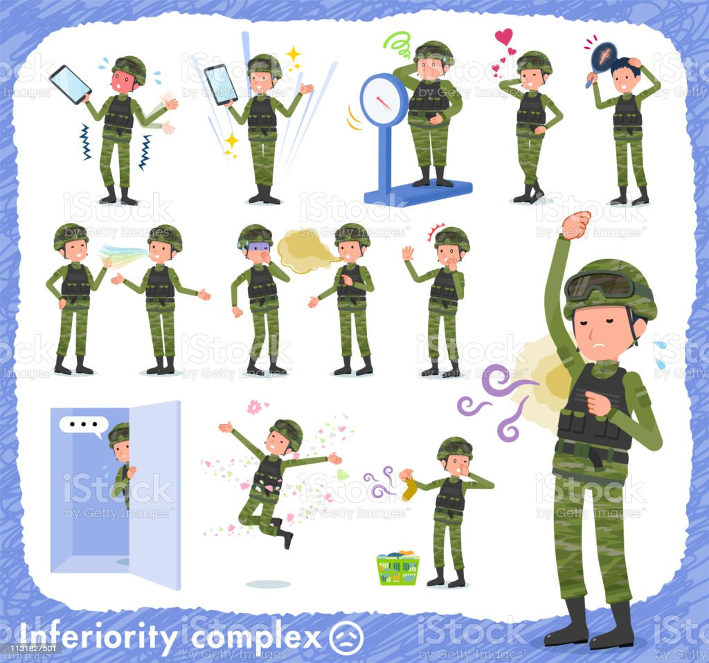 flat type military wear man_complex vector art illustration