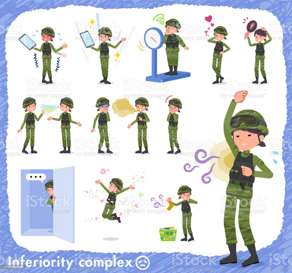 flat type military wear women_complex vector art illustration