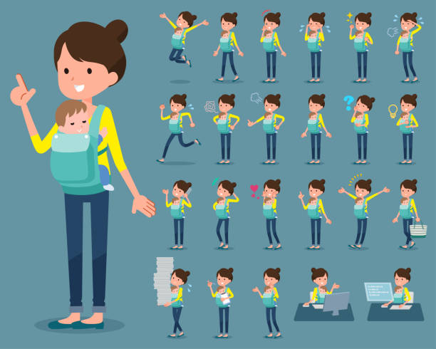 flat type mother and baby_1 - babysitter stock illustrations, clip art, cartoons, & icons