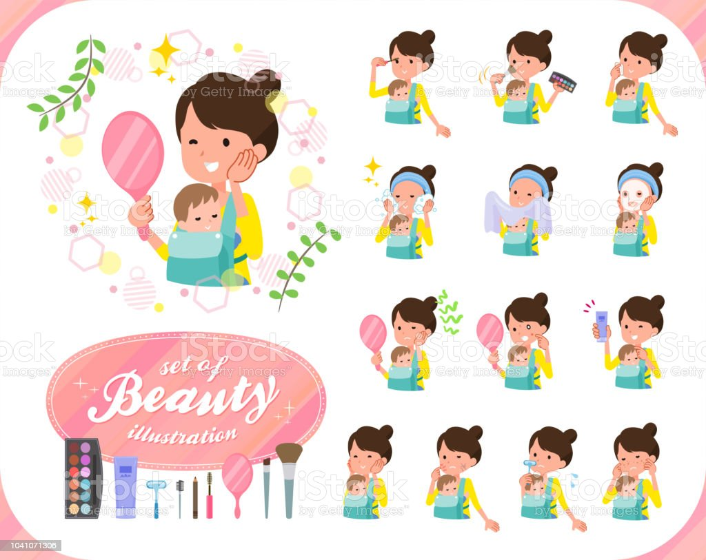 flat type Mother and baby_beauty vector art illustration