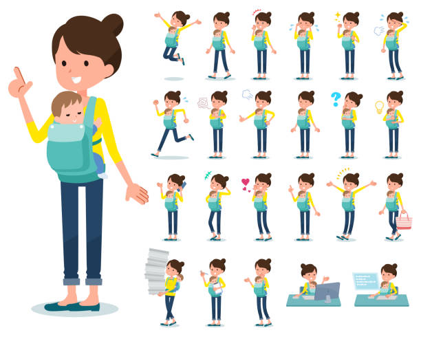 flat type mother and baby_emotion - single mother stock illustrations