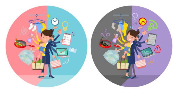 ilustrações de stock, clip art, desenhos animados e ícones de flat type mother and baby_mulch task switch - fail cooking