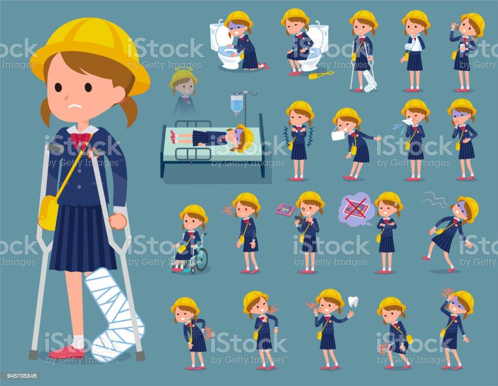 flat type Nursery school girl_sickness vector art illustration