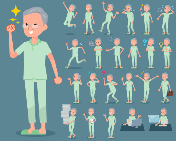 flat type patient grandfather_1 - old man pajamas stock illustrations, clip art, cartoons, & icons